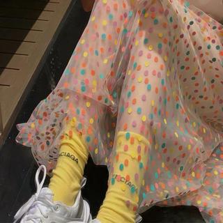 新商品*シースルースカート☆マルチカラードット(ロングスカート)