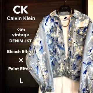カルバンクライン(Calvin Klein)の【激レア1点物】ブリーチ&ペイント オーバーサイズデニムジャケット【希少サイズ】(Gジャン/デニムジャケット)