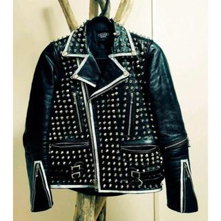 アンダーカバー(UNDERCOVER)のライダースジャケット 鋲ジャン crust punk blackmeans(ライダースジャケット)