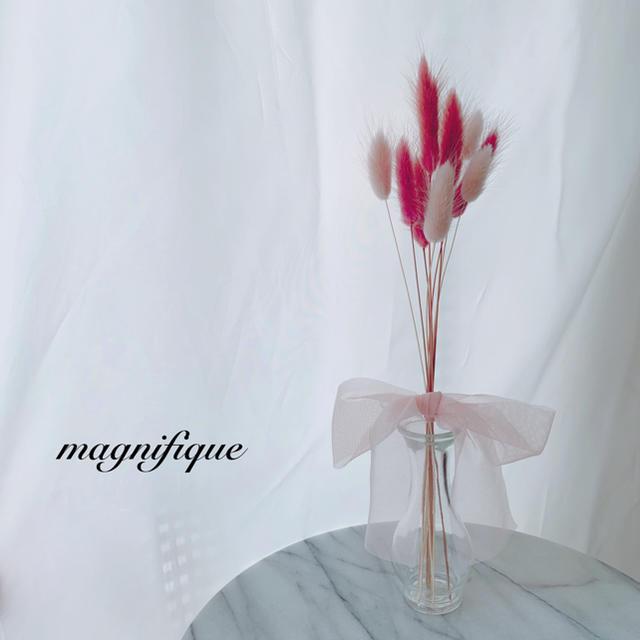 チュールリボン♡ ラグラス ブーケ スワッグ ドライフラワー ギフト ハンドメイドのフラワー/ガーデン(ドライフラワー)の商品写真