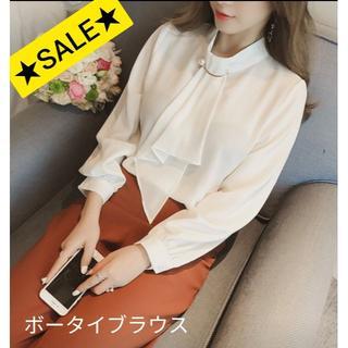 【SALE】ボウタイブラウン シャツ ホワイト Lサイズ フェミニン(シャツ/ブラウス(長袖/七分))