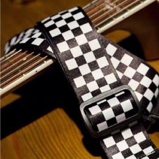 ギターストラップ【黒×白】チェック 王道 アコギ エレキ ベース(ストラップ)