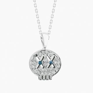 アイファニー(EYEFUNNY)のアイファニー 18k WG ダイヤモンド ドクロ S ブルーアイズ(ネックレス)
