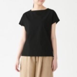 ムジルシリョウヒン(MUJI (無印良品))のムラ糸天竺編みフレンチスリーブTシャツ●無印良品muji 黒ピンク2枚セット(Tシャツ(半袖/袖なし))