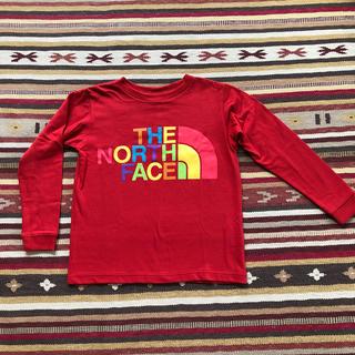 ザノースフェイス(THE NORTH FACE)の美品 ノースフェイス 長袖Tシャツ ロンT 120cm 男女兼用赤(Tシャツ/カットソー)