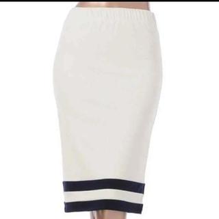 デュラス(DURAS)のDURAS タイトスカート ホワイト×ネイビー F(ひざ丈スカート)