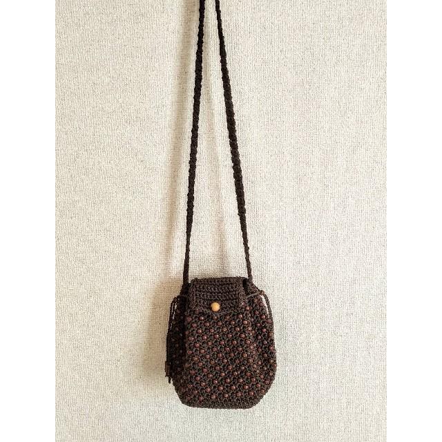 【値下げ】コロンと可愛い ショルダーバッグ ショコラ マクラメ編 レディースのバッグ(ショルダーバッグ)の商品写真