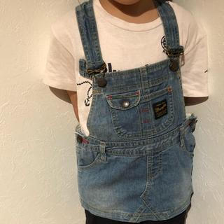 ラングラー(Wrangler)の子供服90サイズラングラースカートオーバーオールデニム(ワンピース)