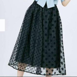メリージェニー(merry jenny)のmerry jenny💕【新品タグ付き】フロッキードットオーガンジー スカート(ひざ丈スカート)
