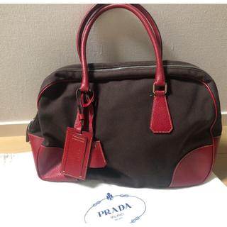 プラダ(PRADA)のおまとめ専用出品 ヴィトンパスケース&PRADA ボストンバッグ 赤 バッグ (ボストンバッグ)