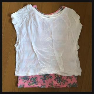 マックハウス(Mac-House)の【マックハウス】Tシャツ&花柄のタンクトップ2点セット(Tシャツ(半袖/袖なし))