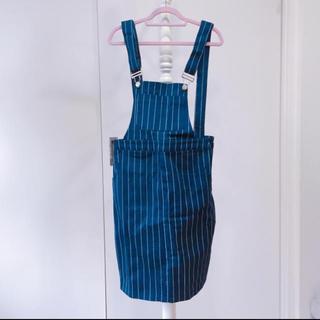 スピンズ(SPINNS)のストライプサロペットスカート(サロペット/オーバーオール)