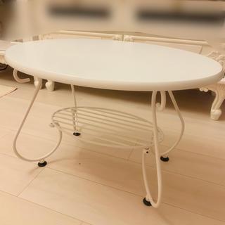 フランフラン(Francfranc)のローテーブル ロートアイアンシリーズ 姫系 猫足 家具 ホワイト 白(ローテーブル)