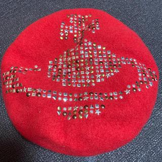 ヴィヴィアンウエストウッド(Vivienne Westwood)のヴィヴィアンウエストウッド スタッズベレー帽 レッド(ハンチング/ベレー帽)
