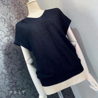 ヴィンテージ ◆ ブラック フレンチスリーブトップス カットソー(カットソー(半袖/袖なし))