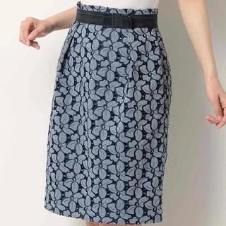 エフデ(ef-de)のef-de 花柄タイトスカート ネイビー(ひざ丈スカート)