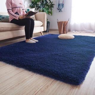 ラグ 120×160cm(約2畳) 折り畳み 長方形 ブルー(ラグ)
