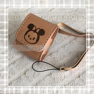 ディズニー(Disney)の本革 ミニー AirPods  カバー(ヘッドフォン/イヤフォン)