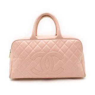 シャネル(CHANEL)のCHANELシャネルキャビアスキンレザー皮革ココマークボストンハンドバッグ鞄(ボストンバッグ)