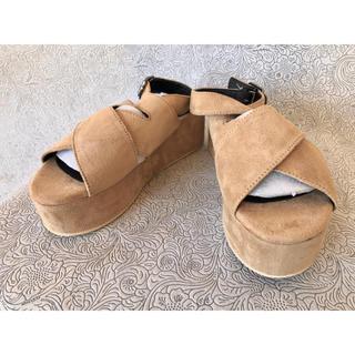 メゾンドフルール(Maison de FLEUR)の【定価¥7590】レディース 靴 サンダル 厚底 茶 ヒール 夏 (サンダル)