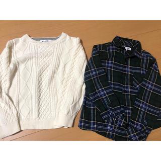 グローバルワーク(GLOBAL WORK)のGLOBAL WORK キッズ Lサイズ セーター&チェックシャツ 2点セット(ニット)