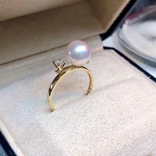 【高級】天然あこや真珠 リング8-8.5mm k18(リング(指輪))