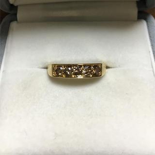 ブラウンダイヤモンド 一文字 リング K18YG 0.50ct 2.9g(リング(指輪))