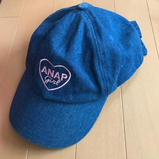 アナップキッズ(ANAP Kids)のANAP girl  女児 キャップ 後ろリボン デニム(帽子)