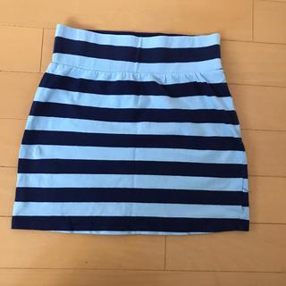 オールドネイビー(Old Navy)のOLD NAVY  ミニスカート ブルー ボーダー女児M(8)サイズ(スカート)