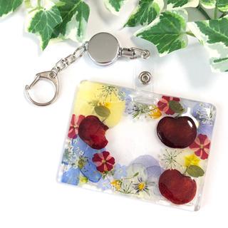 白雪姫カラー☆押し花と押しフルーツのパスケース(その他)
