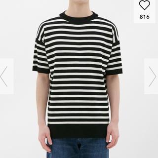 ジーユー(GU)のGU マリンボーダークルーネックセーター(半袖) ジーユー サマーニットTシャツ(ニット/セーター)
