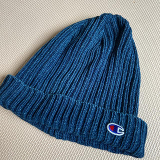 チャンピオン(Champion)のチャンピオン 綿100% ニット帽ブルー(ニット帽/ビーニー)