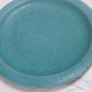 アクタス(ACTUS)の作家さん手作り 大皿 リム皿 プレート ターコイズブルー 焼物 作家物 一点物(食器)