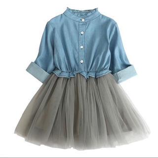 100 数量限定♪再入荷 デニム シャツ チュール スカート ワンピース 女の子(ワンピース)