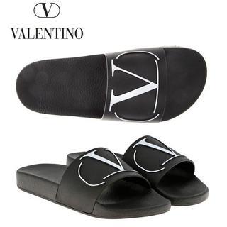 ヴァレンティノ(VALENTINO)の2 VALENTINO ブラック Vロゴ ラバー サンダル size 41(サンダル)
