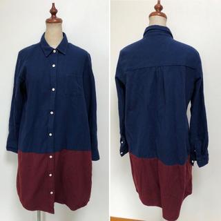 グラニフ(Design Tshirts Store graniph)のグラニフ シャツワンピース ツートンカラー 綿100%(シャツ/ブラウス(長袖/七分))