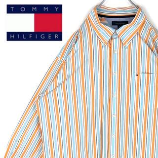 トミーヒルフィガー(TOMMY HILFIGER)のトミーヒルフィガー 刺繍胸ロゴ ストライプ マルチカラー 90s 長袖BDシャツ(シャツ)