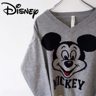 ディズニー(Disney)の【Disney】ディズニー ミッキープリントのセーター グレー(ニット/セーター)