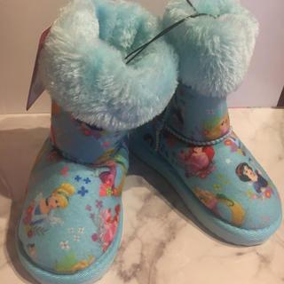 ディズニー(Disney)の新品ディズニープリンセスムートンブーツ 水色17センチ(ブーツ)
