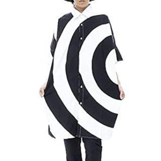 アンコロック(ankoROCK)のankoROCKグルグル柄ビッグシャツ ぐるぐる柄 ロングシャツ 半袖 ブラック(シャツ)