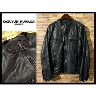 カズユキクマガイアタッチメント(KAZUYUKI KUMAGAI ATTACHMENT)の美品 定価18万 カズユキクマガイ GUIDI ノーカラー ライダース M 黒(レザージャケット)