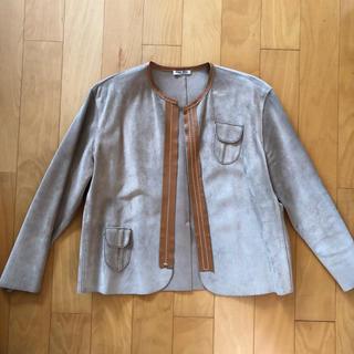 ミュウミュウ(miumiu)のスゥエードノーカラー ジャケット(ノーカラージャケット)