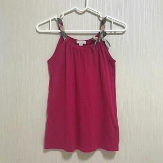 バーバリー(BURBERRY)の美品 BURBERRY    タンクトップ キャミソール レッド 140 (Tシャツ/カットソー)