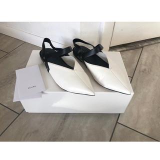 セリーヌ(celine)の新品レア Celine セリーヌ フラットシューズ 37 ブラックホワイト(ローファー/革靴)
