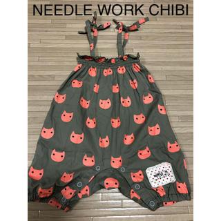ニードルワークスーン(NEEDLE WORK SOON)のニードルワークスーン NEEDLE WORK CHIBI ロンパース ネコ 80(ロンパース)