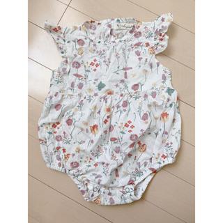 韓国子供服 フラワーロンパース 80(ロンパース)