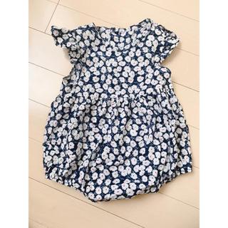 韓国子供服 フラワーロンパース ネイビー(ロンパース)