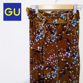 ジーユー(GU)の【GU】ジーユー 花柄ワイドパンツ ブラウン(バギーパンツ)