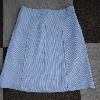 ベルメゾン(ベルメゾン)の千趣会 ベルメゾン ひざ丈台形スカート ブルーストライプ W70-H95(ひざ丈スカート)