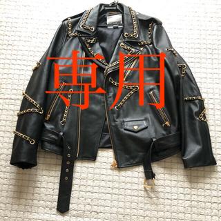 モスキーノ(MOSCHINO)のMOSCHINO H&Mコラボ ライダース L 美品(ライダースジャケット)